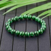6MM 8MM 10MM Natural Green Malachite Round Gemstone Beads Stretchy Bracelet Gift