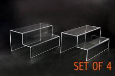 "4x Clear Acrylic 2-step level display Riser Stand Jewelry plinth 10"" L x 6.3"" W"
