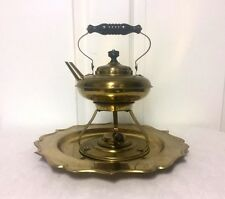 Vintage Brass Tea Pot Kettle with Stand & Burner and Tray - NICE!!!