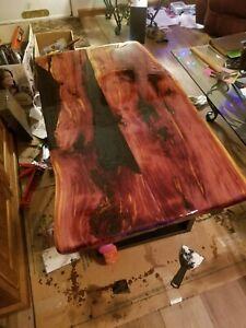 Coffee table solid cedar wood live edge with black metal base