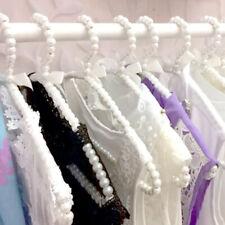 10Pcs 20cm Pearl Beaded Clothes Pants Hanger Trousers Dress Holder White
