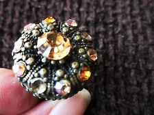 UNUSUAL ADJUSTABLE LADIES DRESS RING LARGE FLOWER CENTRE SPARKLE STONES YELLOWS