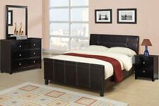 Sleek Design Espresso Bedroom Set 4 Piece Queen Bed Mirror Dresser & Nightstand