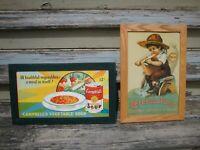 Primitive Farmhouse Decor Vintage Metal Signs Kitchen Frame Repro Flour Campbell