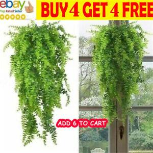 Artificial Hanging Fake Fern Plastic Plants Trailing Foliage Flowers Leaf Decma