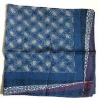 Vintage Silk Blend Scarf Dark Blue Red Star Basket Weave Retro Pattern Neck MOD