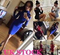Womens Bodycon Off Shoulder Dress Ladies Party Evening Mini Dress Size 6-16 UK