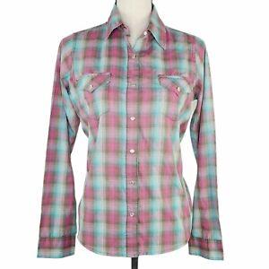 Wrangler Womens Small Western Wrancher Shirt Pink Aqua Plaid Long Sleeve Snap-Up