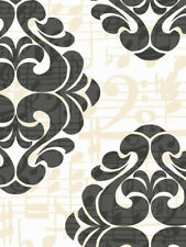 Black and White Damask with Champagne Music Notes Wallpaper Rb4221