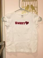 Gymboree Size 6 Girls Shirt Short Sleeve Top Sweet Heart White With Red Bling