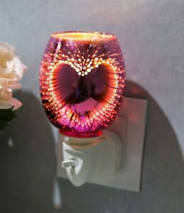 3D PLUG IN OIL AROMA WAX MELT WARMER BURNER 3D PINK HEART DESIGN