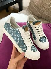 Louis Vuitton Monogram Blue White Denim Patent Leather Sneakers Trainers  38 8