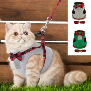 Pet Cat Harness and Lead set Cute Bowknot Small Puppy Kitten Vest Clothes S M L
