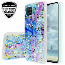 For Galaxy A11/ A12/A21/A22 5G Colorful Marble Glitter TPU Case +Tempered Glass