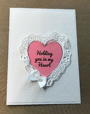 Sympathy Card Ruffled Heart Satin Bow Nice Sentiment You Write Inside Handmade