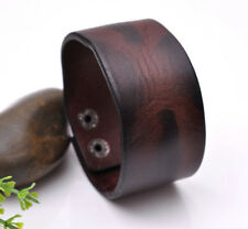 Punk Mens Brown Quality Wide Cowhide Leather Belt Bracelet Cuff Wristband Bangle