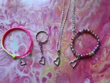 HEART CHILDRENS JEWELLERY SET, BRACELETS, NECKLACE, KEYRING, PARTY BAGS, GIFTS