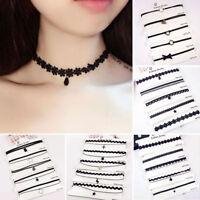 5Pcs/Set Gothic Black Necklace Set Lace Velvet Choker Collar Fashion Jewelry