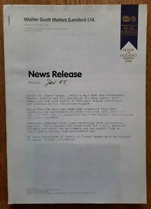 1987 VOLKSWAGEN OETTINGER press release Golf GTi 16v, Audi 90 Quattro, Passat