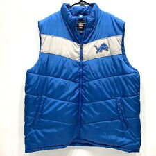 Detroit Lions Puffer Vest NFL Mens Size XXL Blue Silver Zip Up Coat
