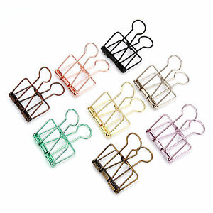 10PCS 40x19mm Colored Hollow Long Tail Clip Paper Photo Clip Stationery Folder