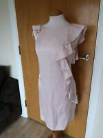 Ladies Dress Size 14 Pink OASIS Ruffle Detail Party Evening Wedding