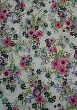 """Pretty Flower Floral JERSEY LYCRA Stretch Fabric Material 60""""Width Pink"""