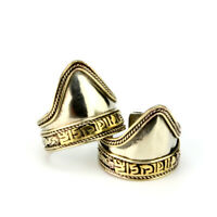 Adjustable Tibetan 925 Silver Plated Carved Golden OM Mani Ring -Mighty!