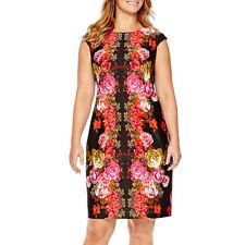 London Style Collection-Cap-Sleeve Floral,Scuba Shealth Dress, Plus-size: 24W