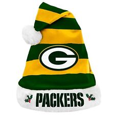 Green Bay Packers Team Logo Holiday Plush Santa Hat NEW! Christmas STRIPED