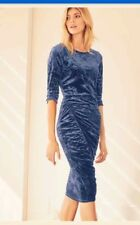 BEAUTIFUL NEXT BLUE CRUSHED VELVET RUCHED SLEEVED DRESS SIZE 10 NEW