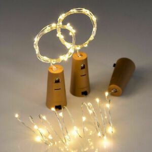 LED Bottle Top Gin/Wine Fairy String Lights Cork Shaped Battery Operated 1.9M