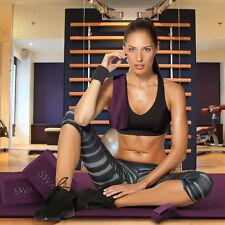 "Yoga 6 Piece Sivan Purple Yoga NBR 1/2"" Ultra Mat Towels Blocks & Yoga Strap"