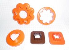 Vintage Tupperware Nesting 5 Cookie Cutters Orange CUT-A-SHAPE Double sided