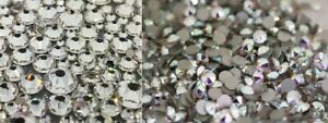 Swarovski crystals flat back CRYSTAL AB CLEAR gems for nails shoes clothes 30pcs