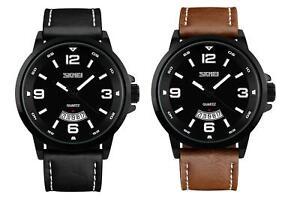 Skmei Mens Watch Brown Or Black Genuine Leather Strap Date Display Window