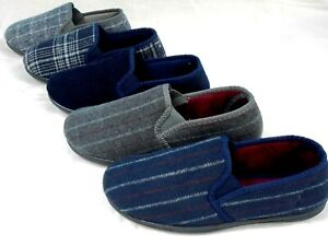 MENS NEW TOP QUALITY NAVY,BROWN,GREY,CHECK FULL SLIPPERS HOUSE SHOE SIZE 7 - 11