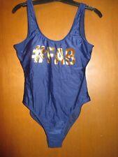 "NWT Jr 11/13 L Swim Bathing Suit_#FAB_Navy&Gold_Shldr2Crtch29"" LtPads"