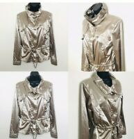GAUDI gold rain jacket in gold size 14 cropped shiny