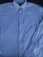 Nautica Mens Button Front Long Sleeve Cotton White Blue Logo Shirt Medium M