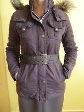 Parka Mantel Jacke mit Kapuze und Fell abnehmbar Gr. 34 BRAUN