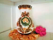 VINTAGE VASE HAND MADE POTTERY ITALY LARGE BROWN GREEN SCRAFFITO RUSTIC 23.8CM