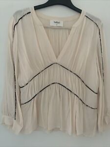 Ba&sh Franny Beige Blouse Top With Black Contrast Piping Size 2 UK 12