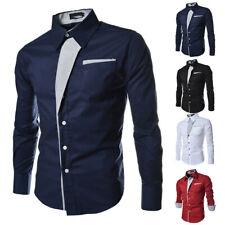 Herren Langarm Hemd Freizeithemd Business Slim Fit Bluse Oberteil Formal Hemden