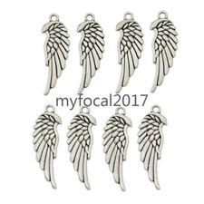 Silver Angel Wings Pendants 3x1cm Alloy Charms Beautiful Jewellery Handmade 8Pcs