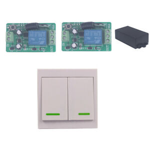 12V 10A 1 Way Relay Wireless Wall Remote Switch +2 Receiver ON/Off