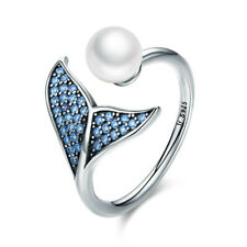 925 Sterling Silver Open Finger Ring Mermaid with Blue CZ & White Pearl Jewelry
