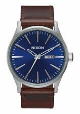 **BRAND NEW** NIXON THE SENTRY LEATHER WATCH BLUE / BROWN A1051524 NEW IN BOX!
