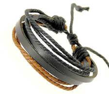 Black Brown Leather Strap Wristband Bracelet Cords Surf Surfer Adjustable