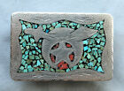 Vintage  Hand Made Engraved Turquoise Coral Inlay Shriners Western Belt Buckle